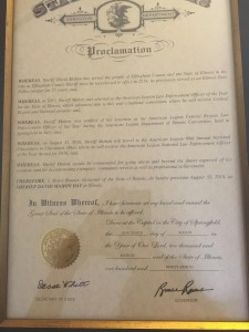 The proclamation from Governor Rauner declaring August 31st Sheriff David Mahon Day in Illinois.  Photo courtesy of Chief Deputy Paul Kuhns - Effingham Sheriff's Office