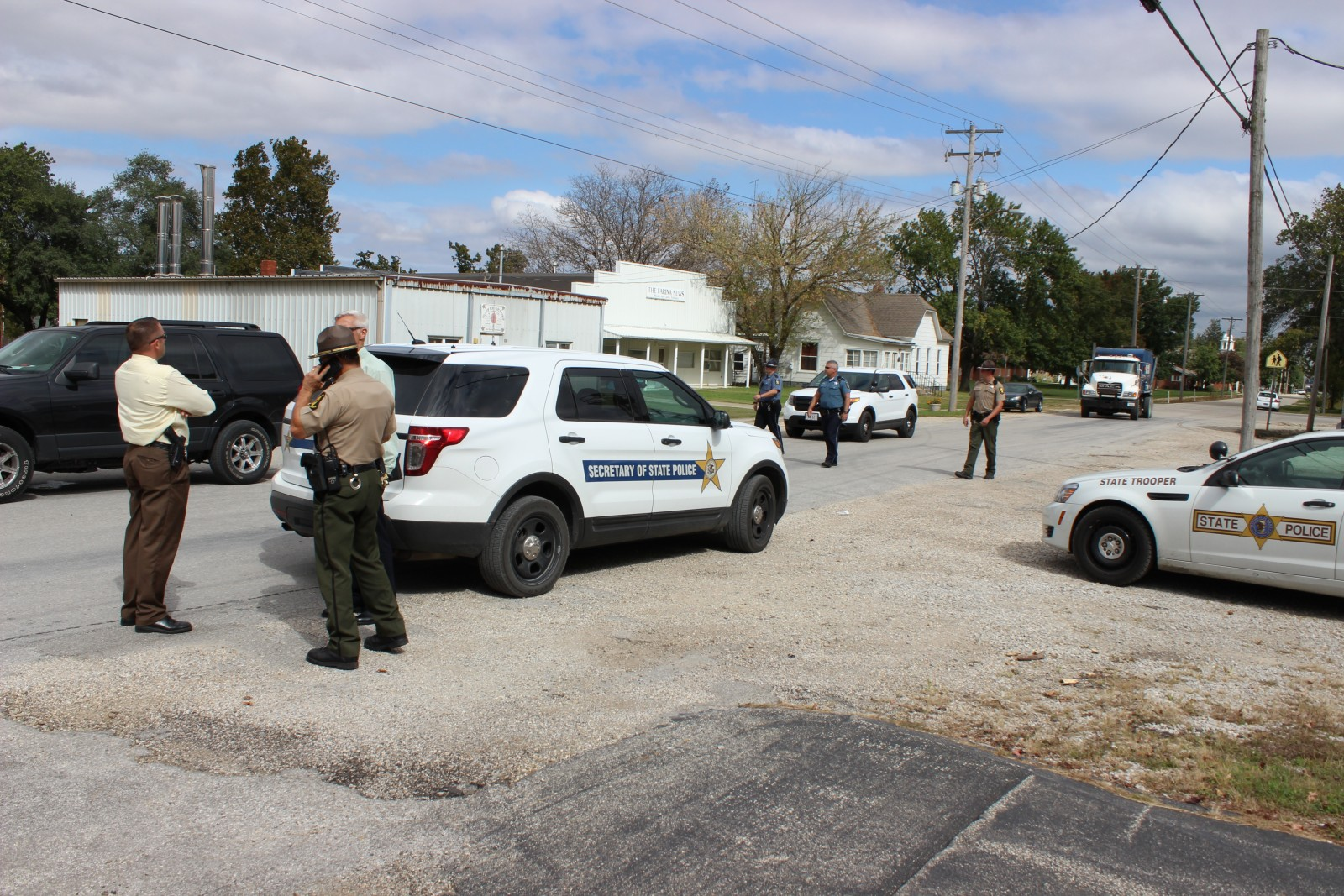 Authorities investigate Midland States Bank following the October robbery.