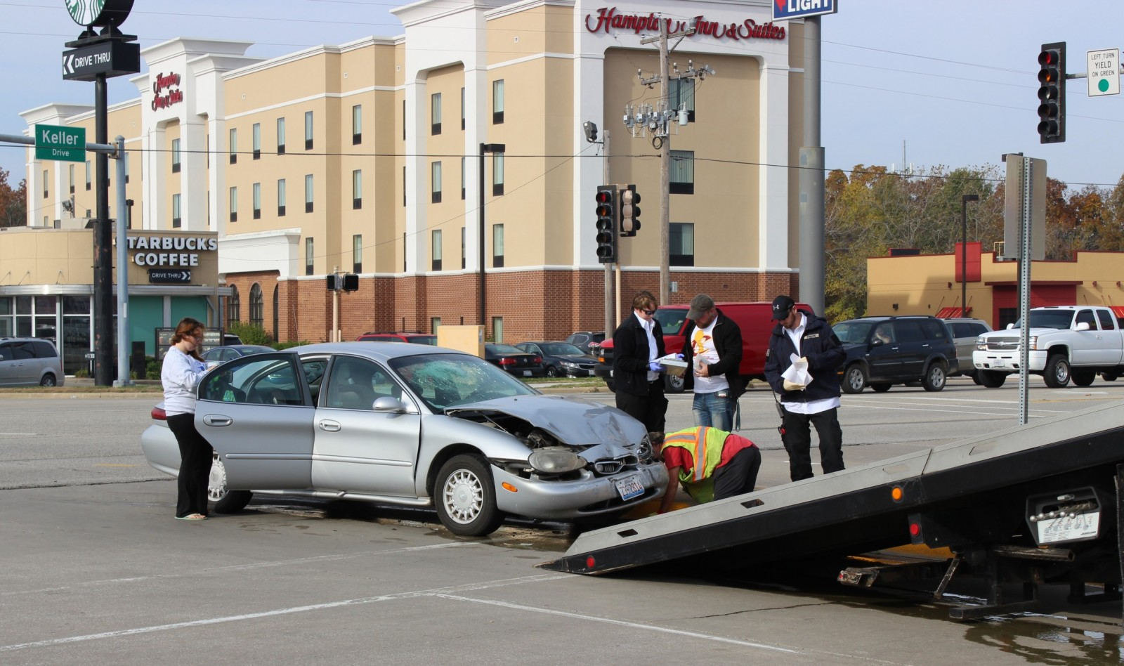 One of the two vehicles involved in Friday morning's crash at Keller and the Avenue of Mid America.