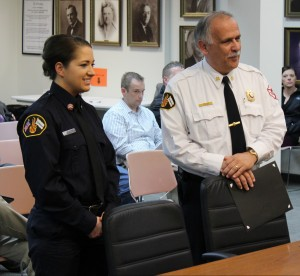 Chief Joe Holomy introduces new part-time firefighter Jessica Meyer