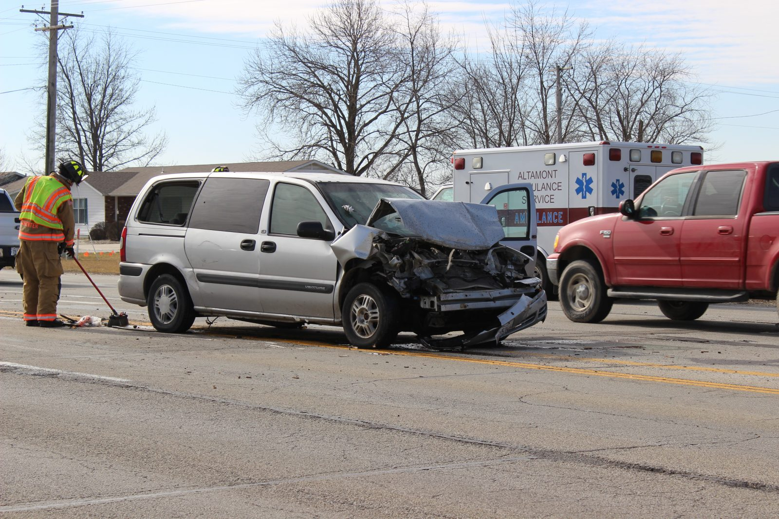 A Chevrolet Venture involved in an accident on Banker Street on Friday.