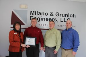 Photo (L-R): Becky Brown, Chamber Membership Director; Lee Beckman, Professional Engineer & Land Surveyor; Scott Hoene, Professional Engineer; Doug Grunloh, Professional Land Surveyor